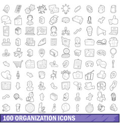 100 organization icons set outline style vector