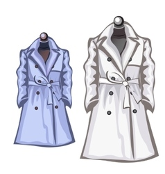 Womens autumn coats white and blue color vector