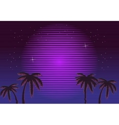 80s retro neon gradient background palms and sun vector