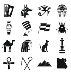 Egypt travel items icons set simple style vector