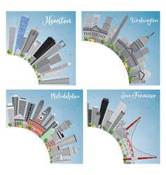 Set of 4 city in usa houston washington dc vector