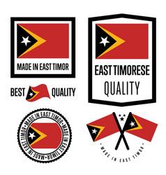 East timor quality label set for goods vector