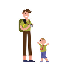 Father travelling with his son cartoon characters vector