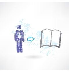 man book grunge icon vector image
