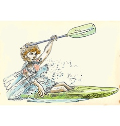 Athlete in a canoe vector