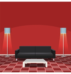 Modern Living Room - Red vector image