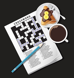 Crossword game mug of coffee and crepe vector