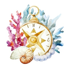Compass with corals vector