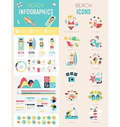 Beach infographic set vector