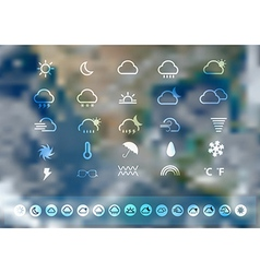 Weather icons set with blurred earth globe vector