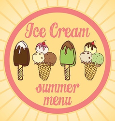 Vintage ice cream poster set of tasty ice cream vector
