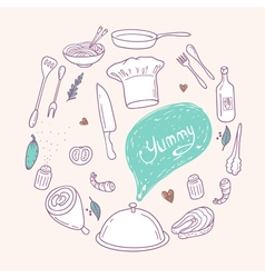 Round with stylized food hand lettering and vector