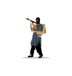 East soldier with a grenade launcher in his hands vector