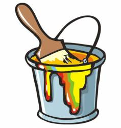 Paintbrush in a paint can vector