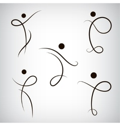 Set of line man human shapes use for vector