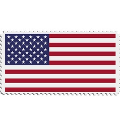 American flag on postage stamp vector