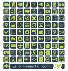 Set of tourism flat icons vector