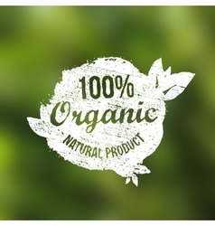 Natural organic food grunge vintage label vector