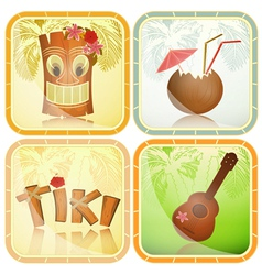 Set of hawaiian icons vector