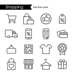 Shopping thin line icon set vector