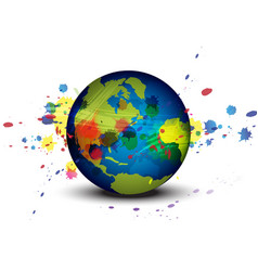 globe and ink splatter background vector image