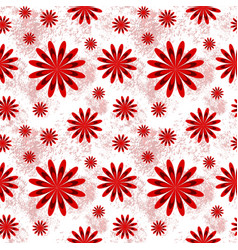 beautiful floral seamless pattern in red and white vector image