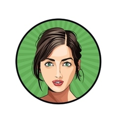 beauty girl face lipstick hair tied sticker green vector image