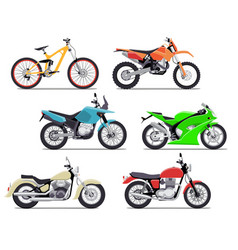 Bike and motorbike flat set vector