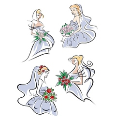 Bride in gown holding flowers vector