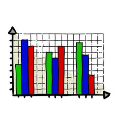 Cartoon image of graph icon chart bar symbol vector