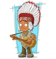 Cartoon indian chief with guitar vector