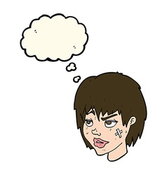 cartoon woman with plaster on face with thought vector image