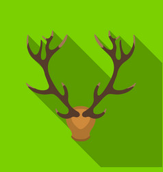 Deer antlers horns icon in flat style isolated on vector