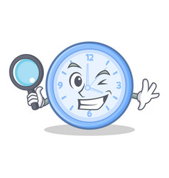 detective clock character cartoon style vector image