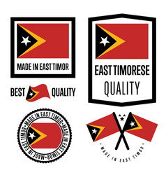 East timor quality label set for goods vector