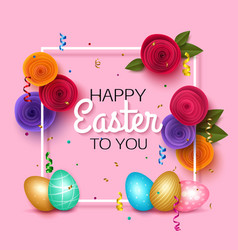 easter greeting card with colorful eggs pink vector image vector image