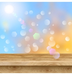 Empty table of wooden planks on autumn background vector