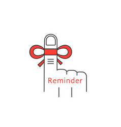 Finger reminder thin line icon vector