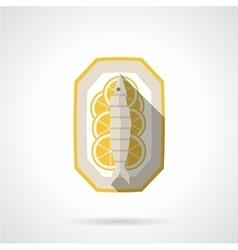 Fish with lemon flat icon vector image