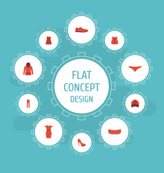 Flat icons gumshoes lingerie waistcoat and other vector