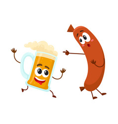 Funny beer mug and frankfurter sausage characters vector