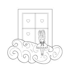 girl by window vector image