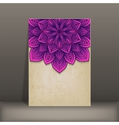 grunge paper card with purple floral circular vector image vector image