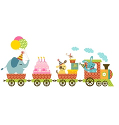 Happy train vector image