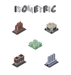 Isometric construction set of clinic industry vector