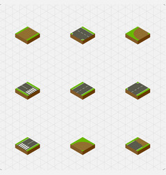 Isometric way set of unfinished footpassenger vector