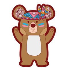 Line color cute bear animal with feathers design vector