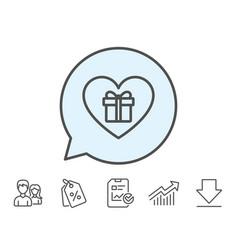 Love gift box line icon present sign vector