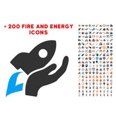 manual rocket launch icon with bonus fire set vector image vector image