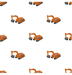 Orange excavator with a bucket machine for mine vector